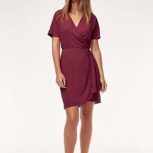 Aritzia Wallace wrap dress in maroon
